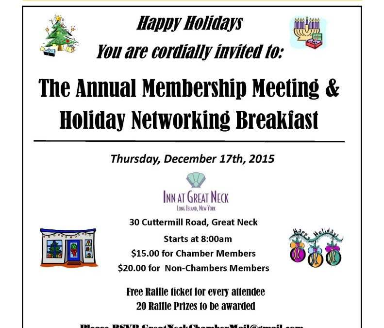 The Annual Membership Meeting &  Holiday Networking Breakfast